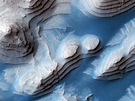 火星、メリディアニ平原の堆積物...